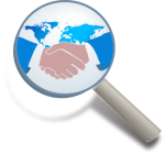 Magnifying glass and handshake for sales agent recruitment